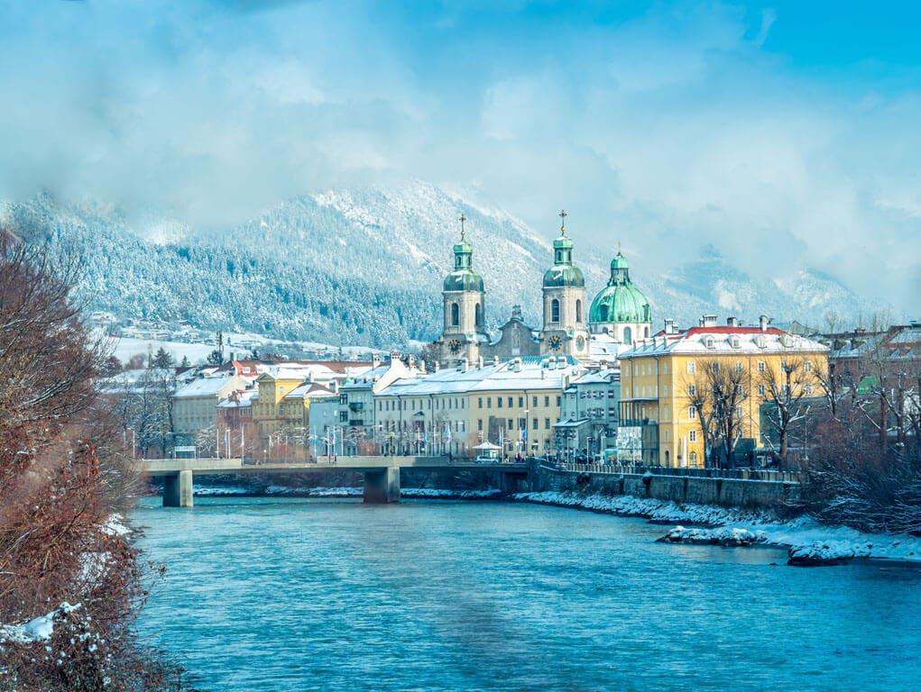Vista sobre Innbruck na Áustria no Inverno